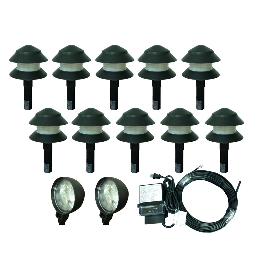 Portfolio 10-Light Black Low Voltage 4-Watt (4W Equivalent) Incandescent Path Light Kit Includes 2-Spot Lights