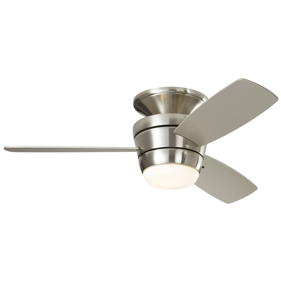 Harbor Breeze Mazon 44-in Brushed Nickel Flush Mount Indoor Residential Ceiling Fan with Light Kit and Remote (3-Blade)