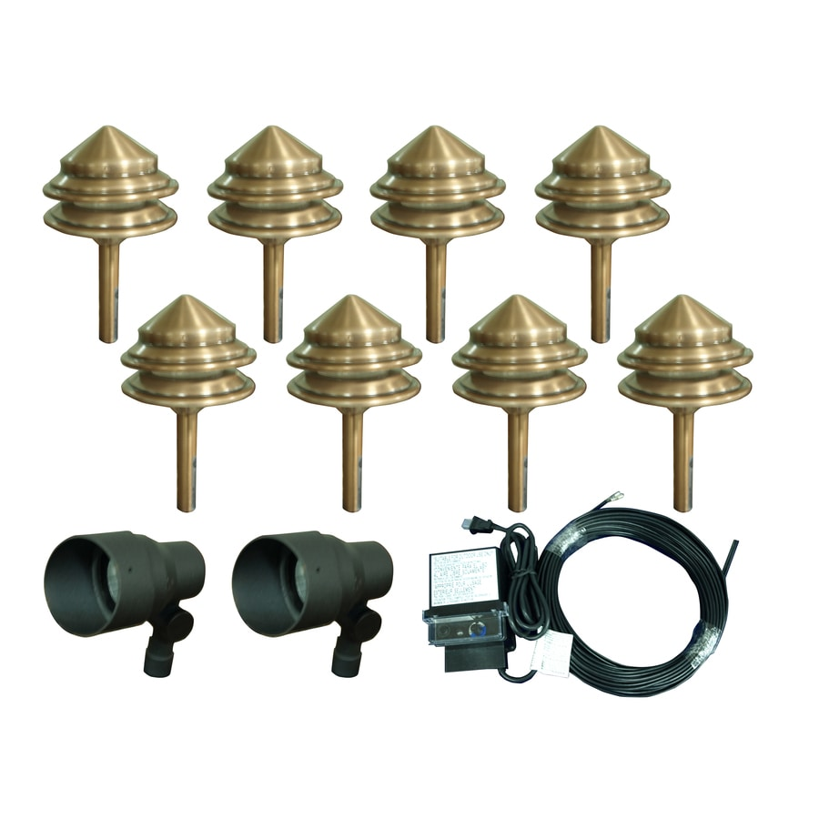 Portfolio 8-Light Copper Low Voltage 4-Watt (4W Equivalent) Incandescent Path Light Kit Includes 2-Spot Lights