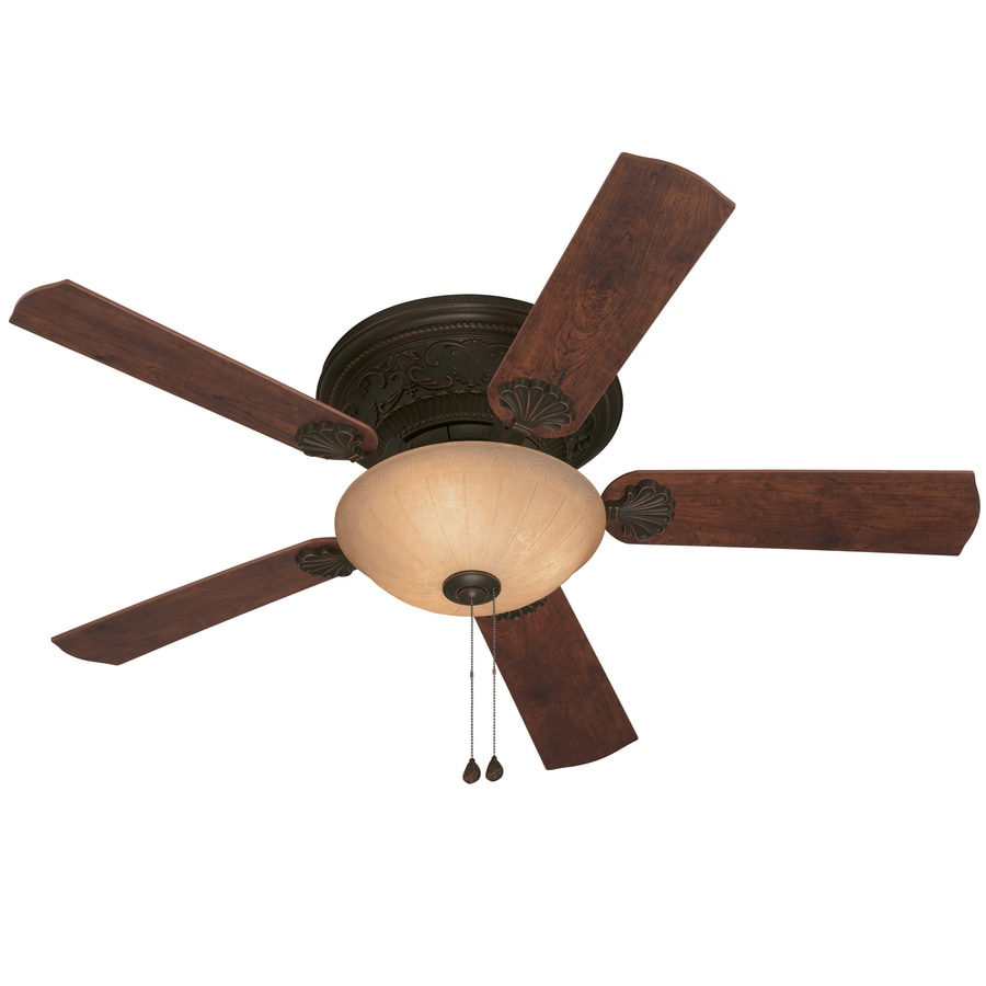 Harbor Breeze Lynstead 52-in Specialty Bronze Flush Mount Indoor Ceiling Fan with Light Kit