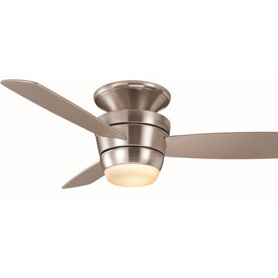 shop harbor breeze mazon 44 in brushed nickel flush mount indoor ceiling fan with light kit and. Black Bedroom Furniture Sets. Home Design Ideas