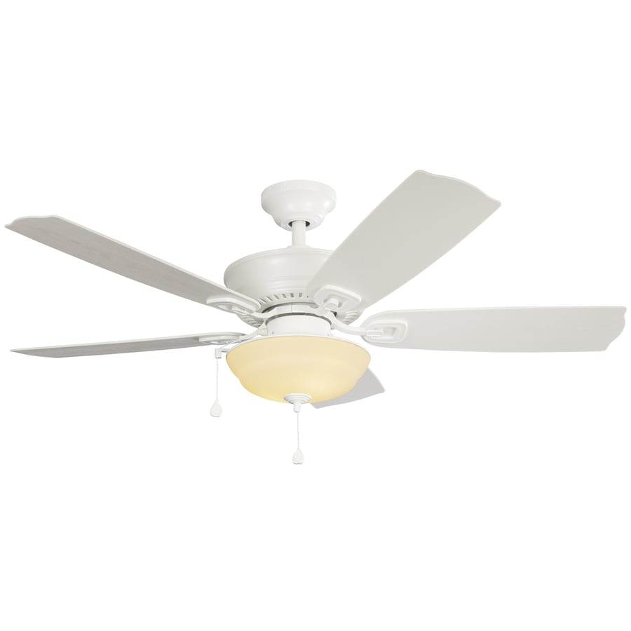 Harbor Breeze Echolake 52-in White Indoor/Outdoor Downrod Or Close Mount Ceiling Fan with Light Kit