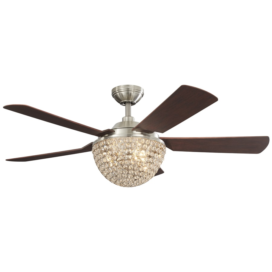 Harbor Breeze Parklake 52-in Brushed Nickel Indoor Downrod Mount Ceiling Fan with Light Kit and Remote
