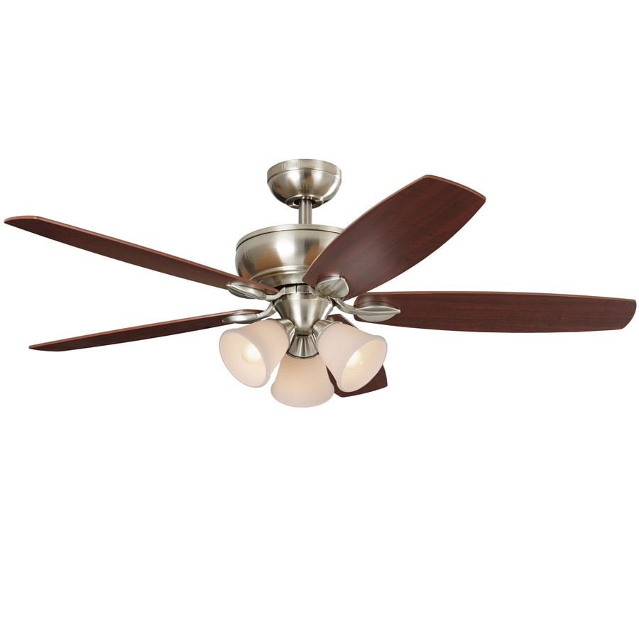 Harbor Breeze Beach Haven 52-in Brushed Nickel Downrod or Close Mount Indoor Ceiling Fan with Light Kit and Remote