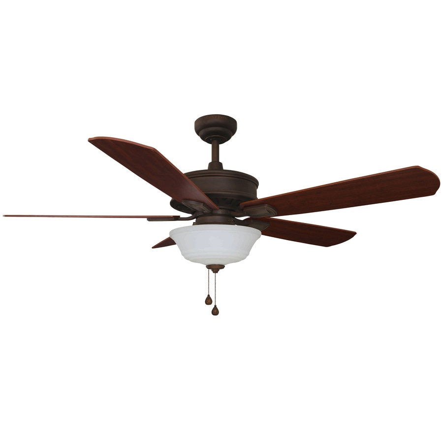 Harbor Breeze Easy Breeze 54-in Antique bronze Integrated LED Indoor Downrod Or Close Mount Ceiling Fan with Light Kit ENERGY STAR