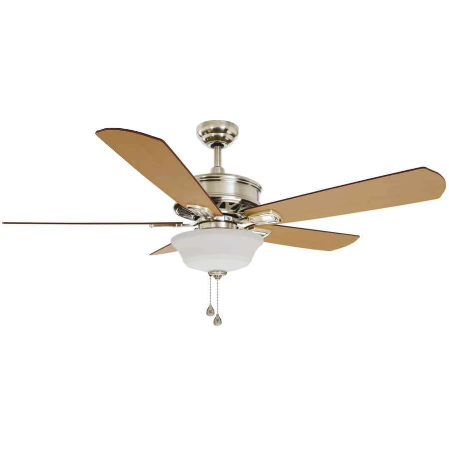 Harbor Breeze Easy Breeze 54-in Brushed Nickel Downrod or Close Mount Indoor Residential Ceiling Fan with Light Kit ENERGY STAR