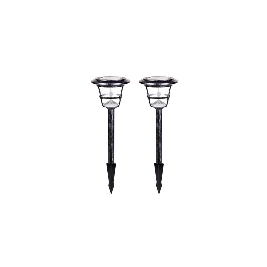 allen + roth 2-Light Black Iron LED Path Light Kit