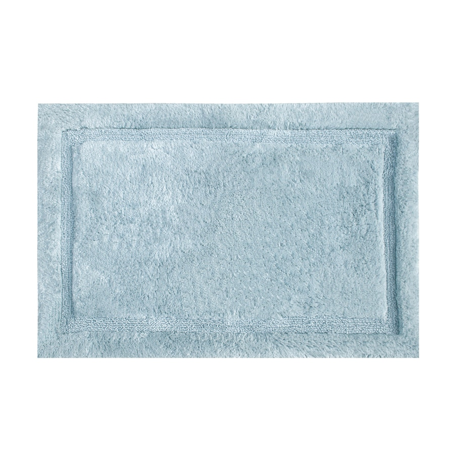 Grund Organic Cotton Asheville 34-in x 21-in Blue Cotton Bath Rug