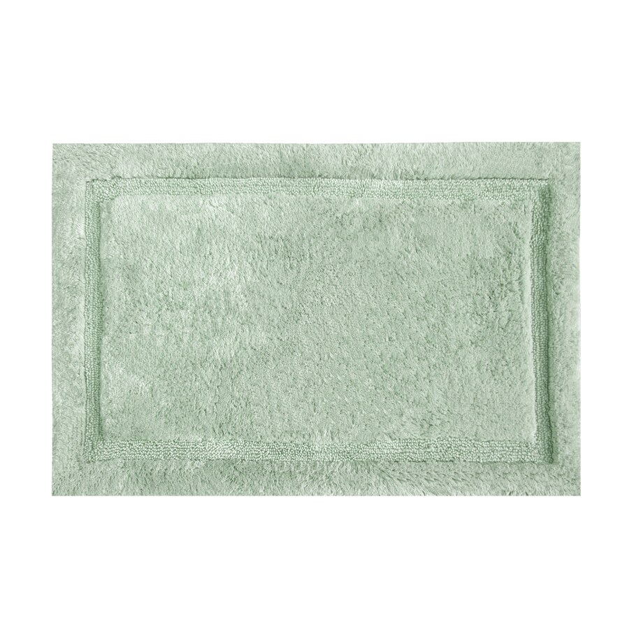 Grund Organic Cotton Asheville 40-in x 24-in Green Cotton Bath Rug