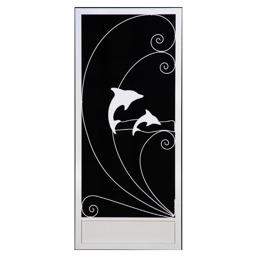 Shop Suntech Doors 36 White Left Hand Dolphin Screen Door At Lowes