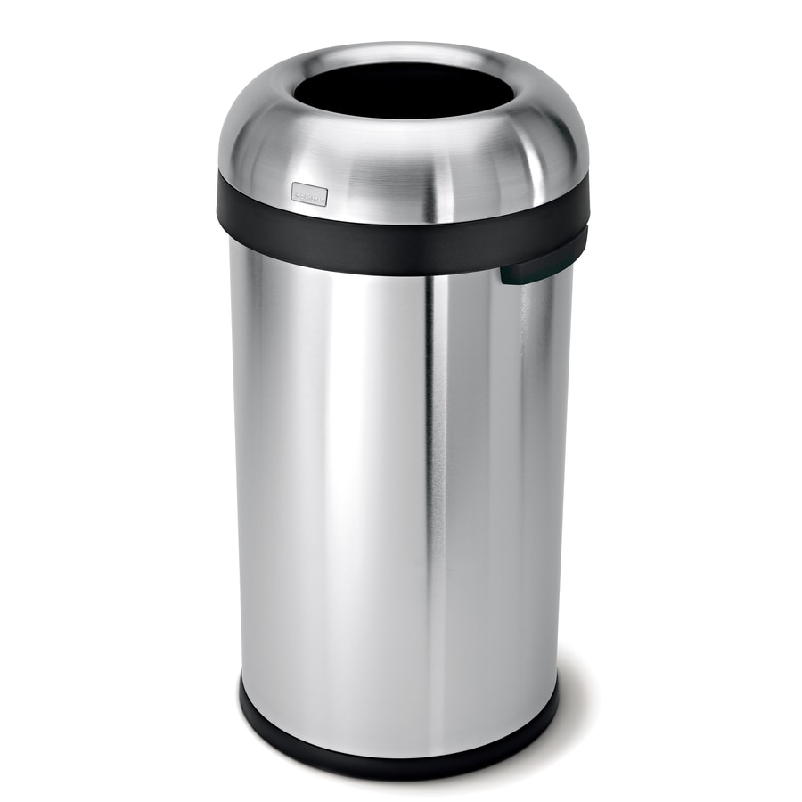 simplehuman Bullet Open-Top 60-Liter Brushed Stainless Steel Steel Touchless Trash Can with Lid