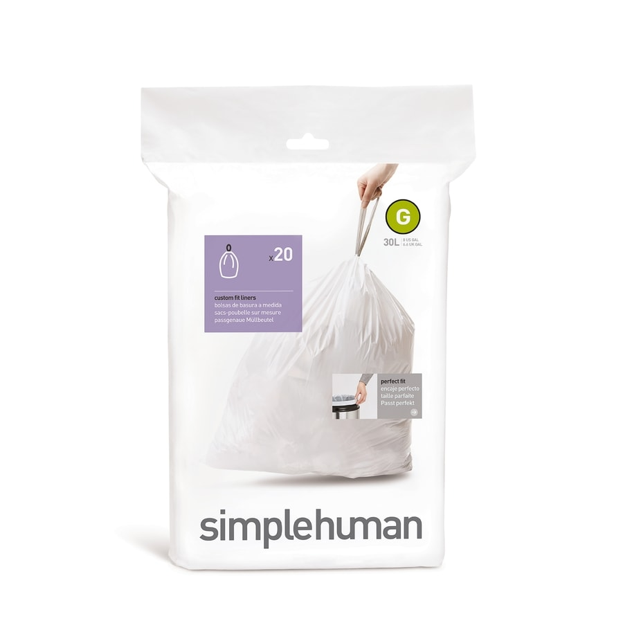 simplehuman Code G 20-Count 8-Gallon White Kitchen Trash Bags
