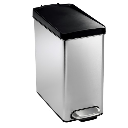 Profile 10-Liter Brushed Stainless Steel Steel Trash Can with Lid