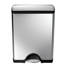 simplehuman rectangular 50liter brushed stainless steel wheeled trash can with lid