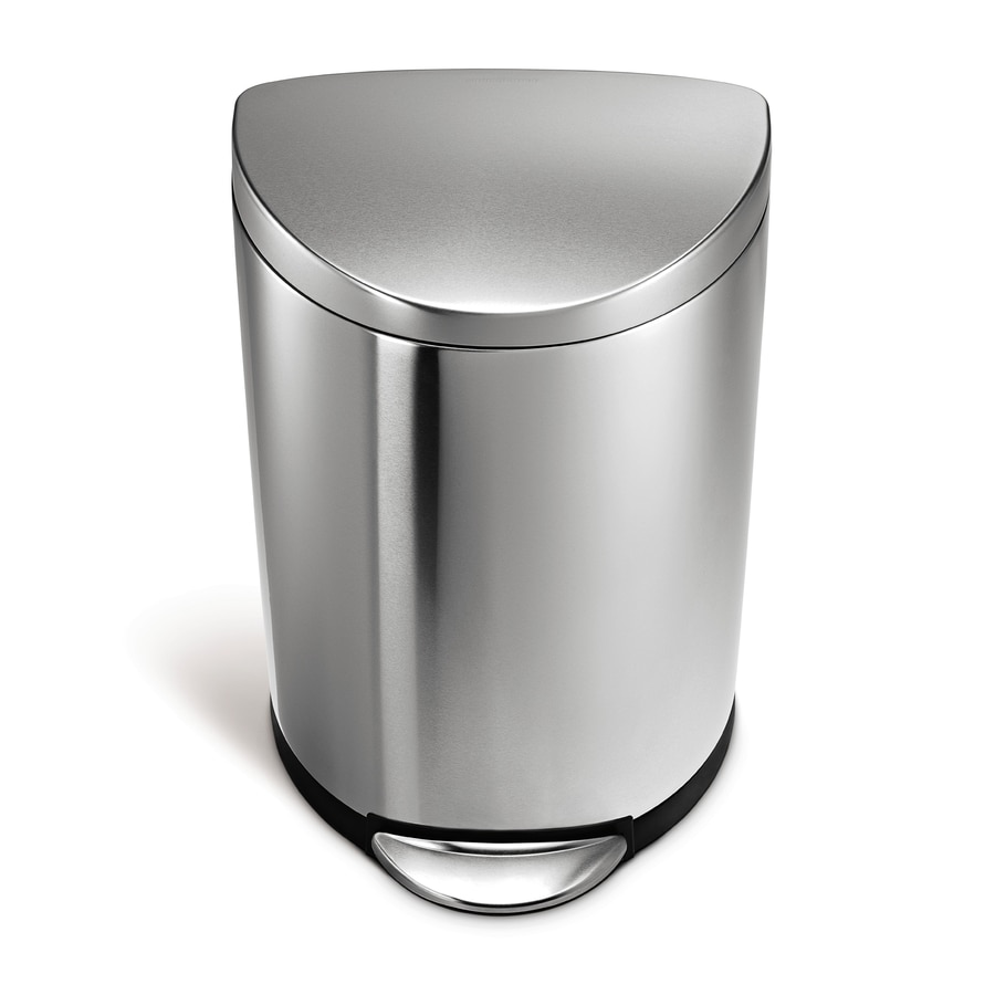 simplehuman Semi-Round 40-Liter Brushed Stainless Steel Steel Trash Can with Lid