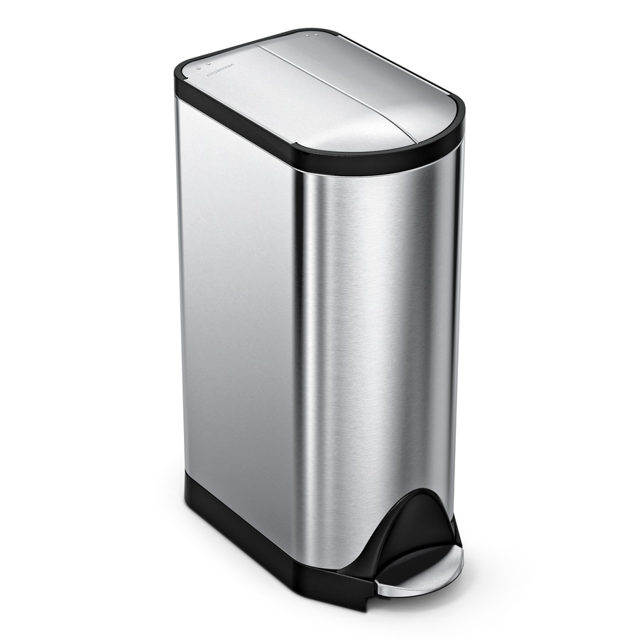 simplehuman Butterfly 30-Liter Brushed Stainless Steel Steel Trash Can with Lid