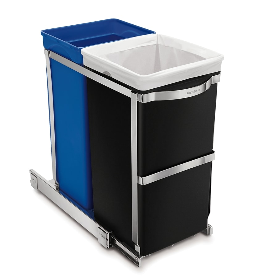 Shop Simplehuman Pull Out 9 3 Gallon Plastic Recycling Bin