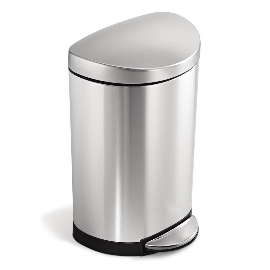 simplehuman Semi-Round 10-Liter Brushed Stainless Steel Steel Trash Can with Lid