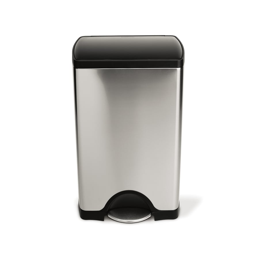simplehuman Rectangular 38-Liter Brushed Stainless Steel Trash Can with Lid