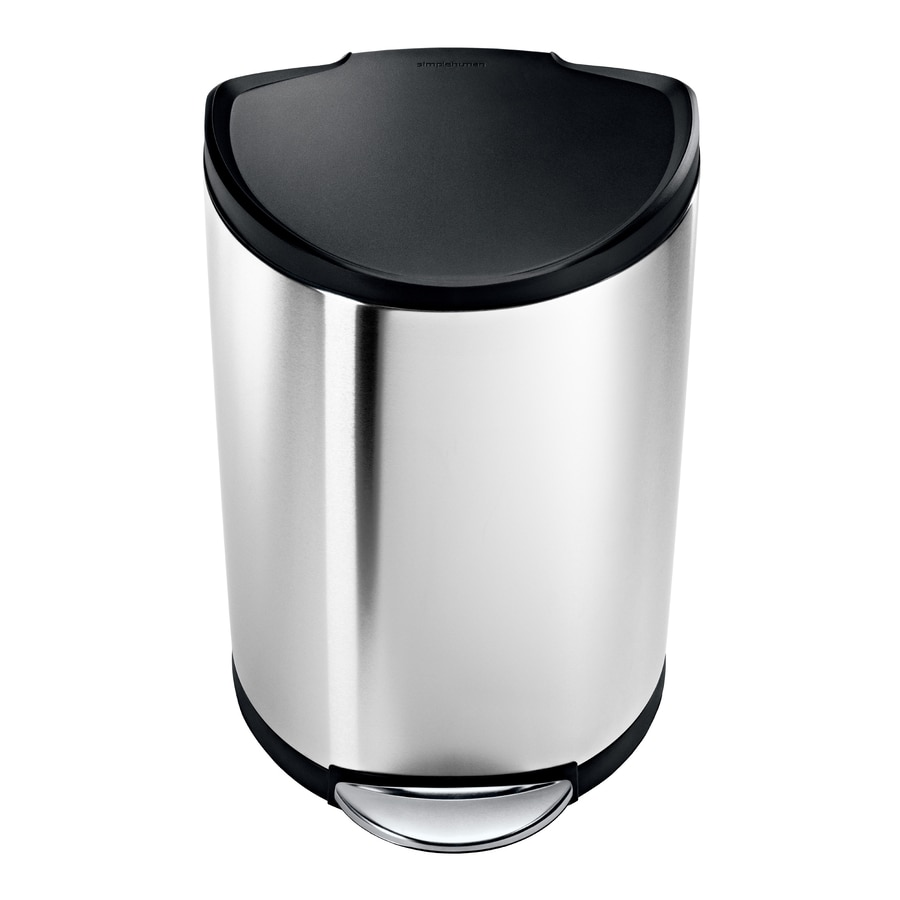 Simplehuman Semi Round 40 Liter Brushed Stainless Steel Trash Can With Lid