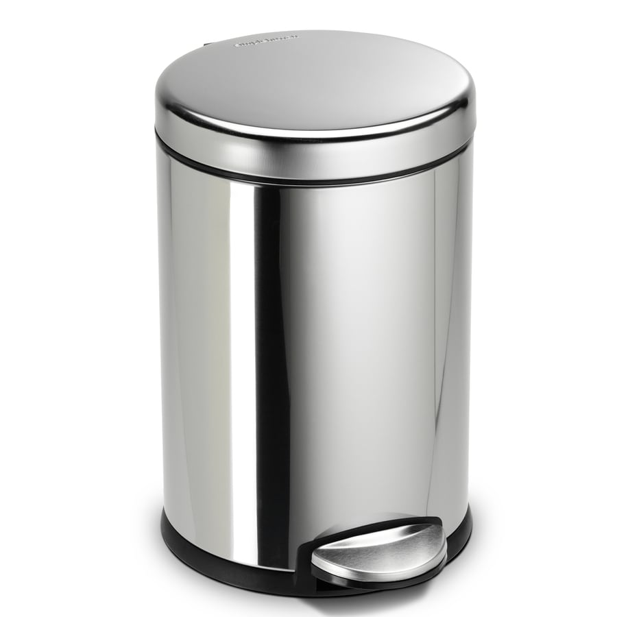 simplehuman Mini Round 4.5-Liter Polished Stainless Steel Steel Trash Can with Lid