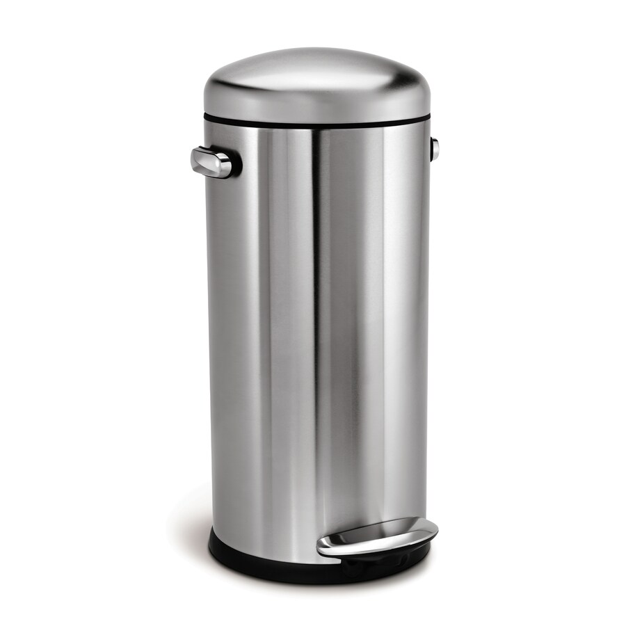 simplehuman Retro Round 30-Liter Brushed Stainless Steel Steel Trash Can with Lid