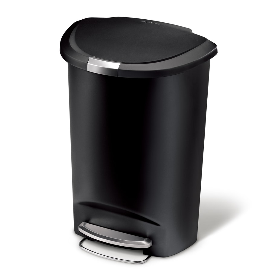 simplehuman Semi-Round 50-Liter Black Plastic Trash Can with Lid