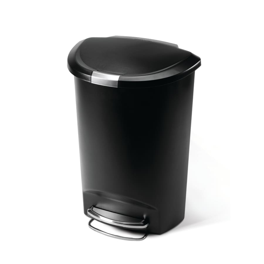 simplehuman 50 Liter Black Semi-Round Plastic Step Can
