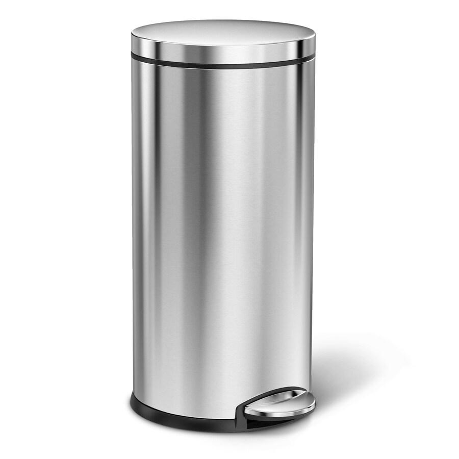 simplehuman Round 35-Liter Brushed Stainless Steel Trash Can with Lid