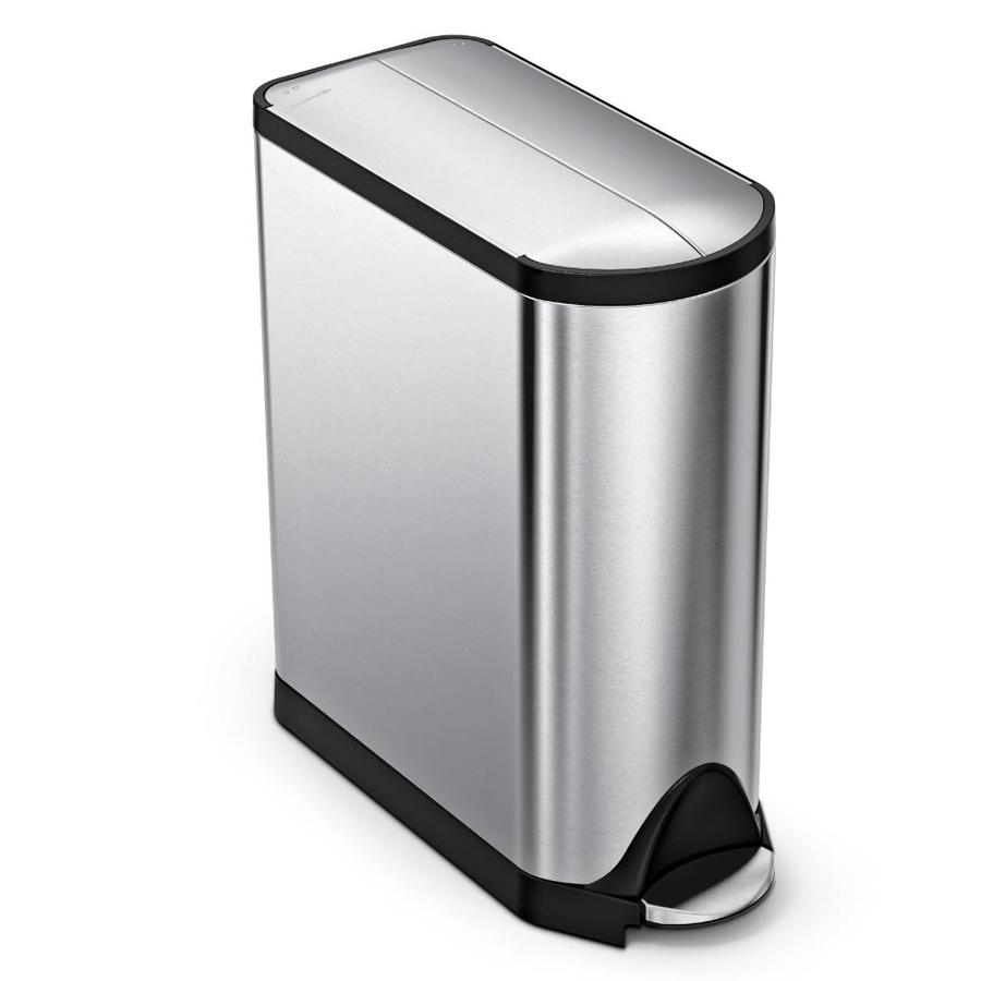 simplehuman Butterfly 45-Liter Brushed Stainless Steel Steel Trash Can with Lid