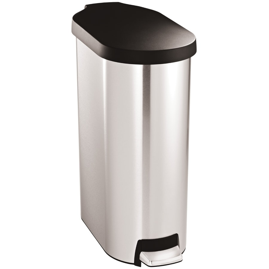 simplehuman Slim 45-Liter Brushed Stainless Steel Steel Trash Can with Lid