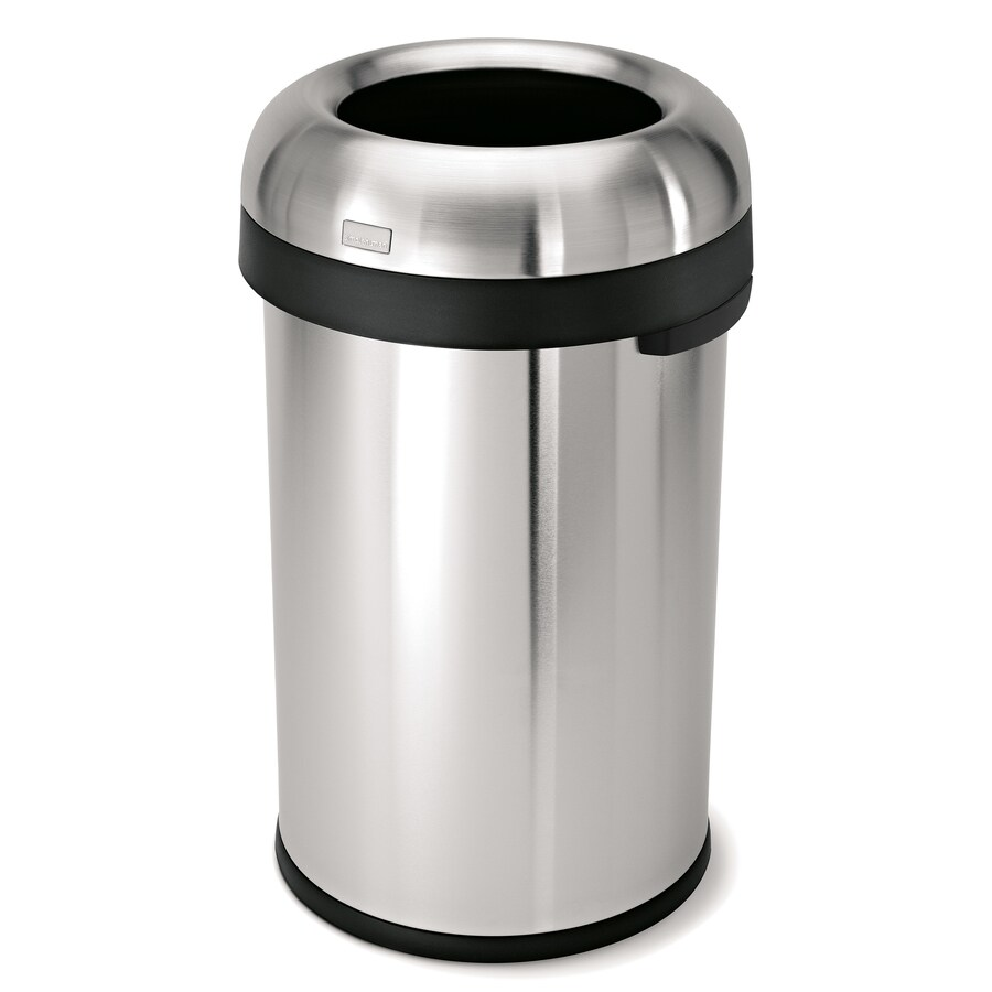 simplehuman Bullet Open-Top 80-Liter Brushed Stainless Steel Trash Can with Lid