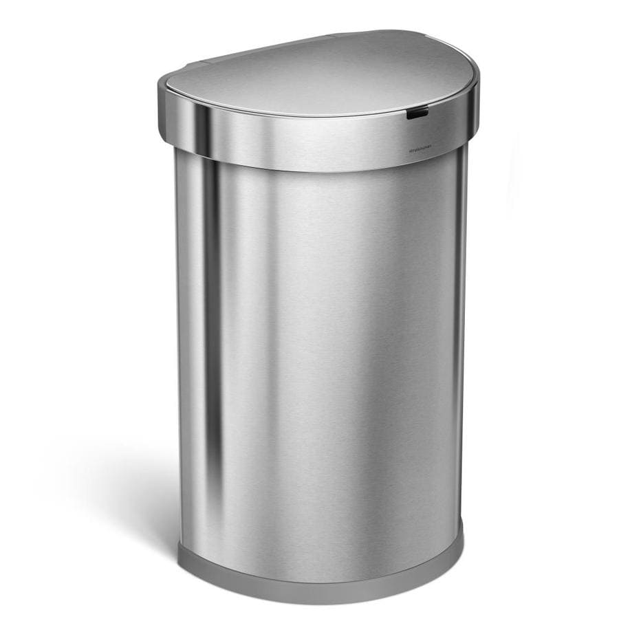 simplehuman Semi-Round Sensor Can 45-Liter Brushed Stainless Steel Touchless Trash Can with Lid