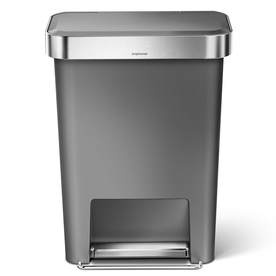 simplehuman Rectangular 45-Liter Grey Plastic Trash Can with Lid