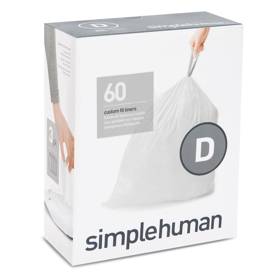simplehuman Code D 60-Count 5.3-Gallon White Kitchen Trash Bags