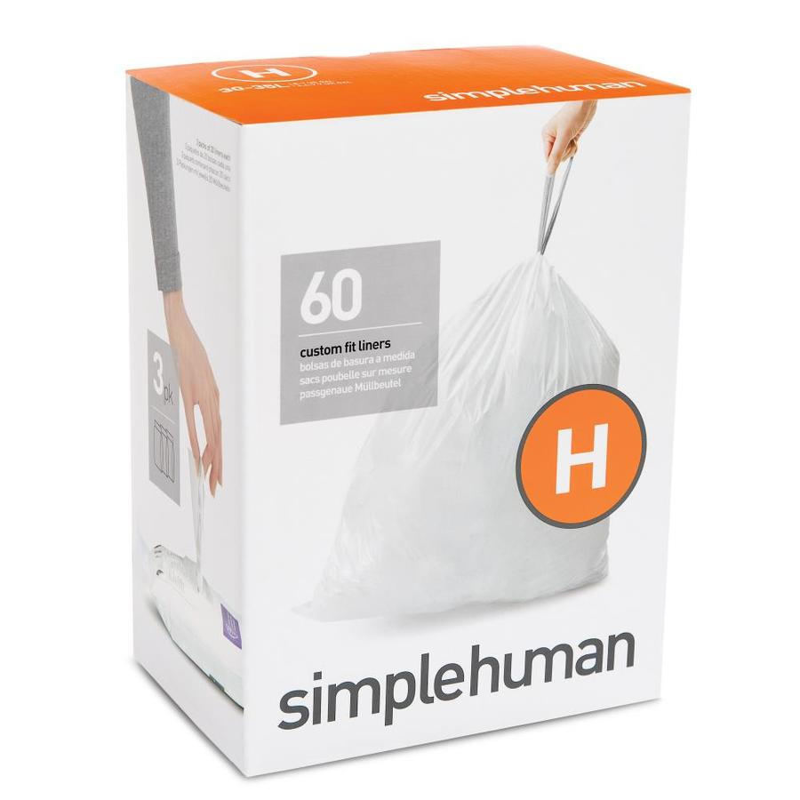 simplehuman Code H 60-Count 9-Gallon White Kitchen Trash Bags