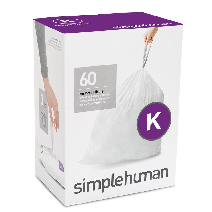 simplehuman Code K 60-Count 12-Gallon White Kitchen Trash Bags