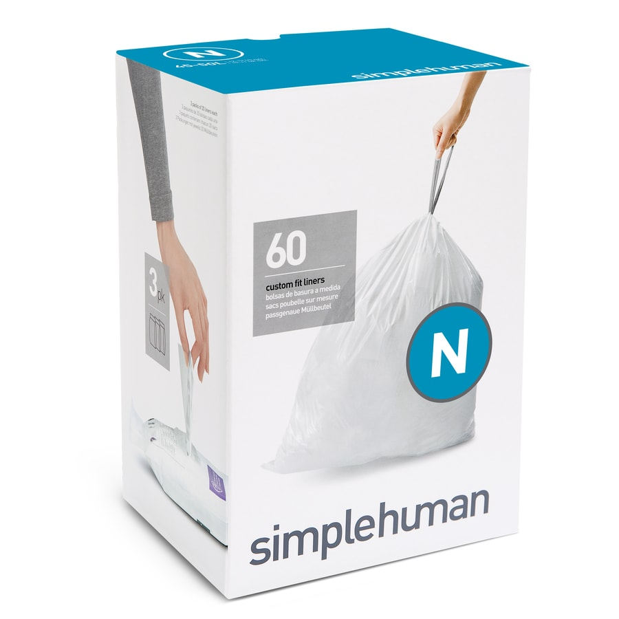 simplehuman Code N 60-Count 13-Gallon White Kitchen Trash Bags