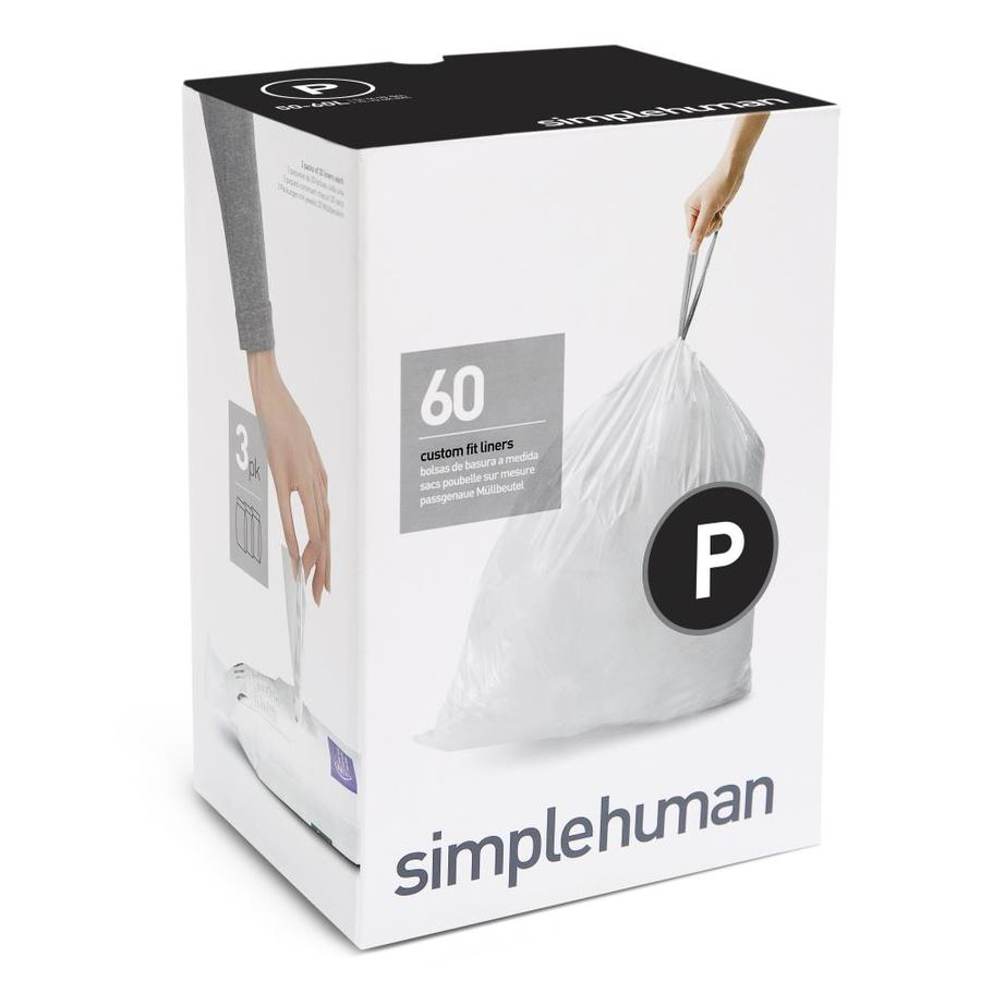 Simplehuman Code P 60 Pack 16 Gallon White Plastic Kitchen