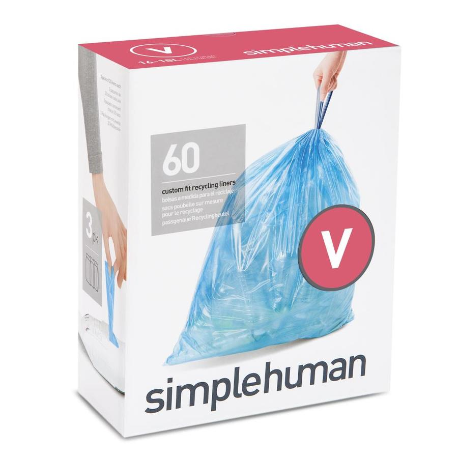 simplehuman Code V 60-Count 4.7-Gallon Blue Recycling Trash Bags