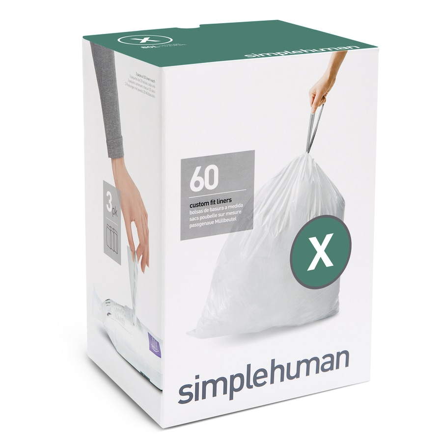 simplehuman Code x 60-Count 21-Gallon White Wastebasket Trash Bags