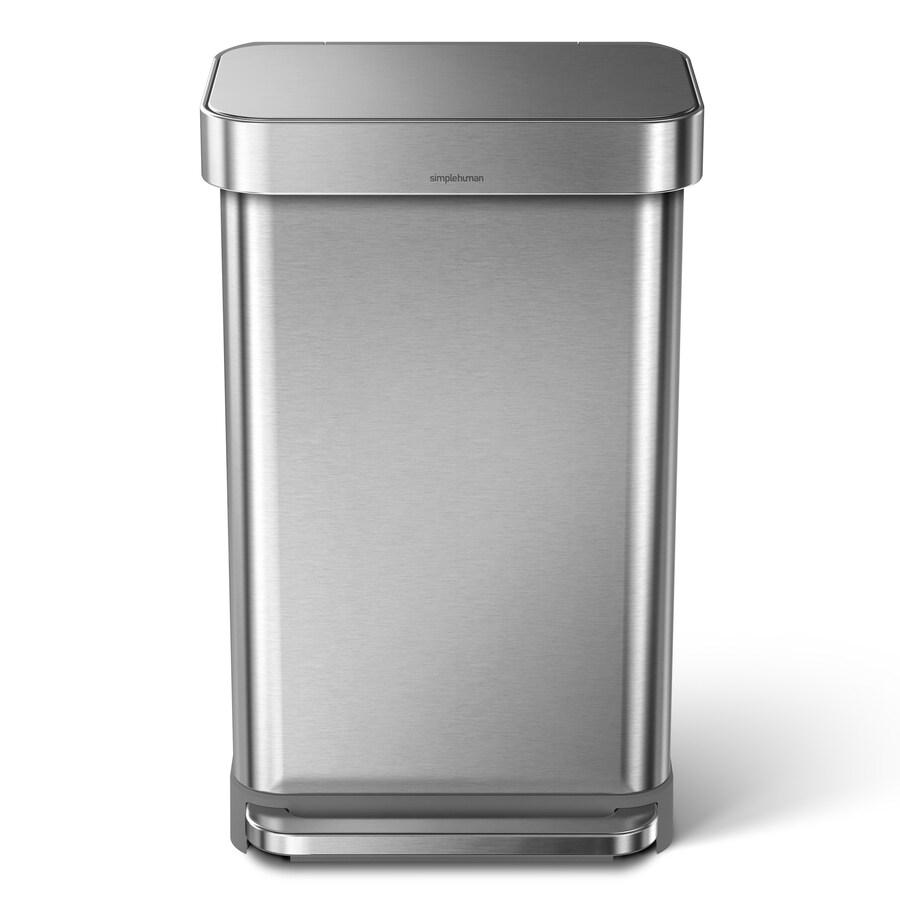 simplehuman 45 Liter Rectangular Trash Can- Brushed Stainless Steel