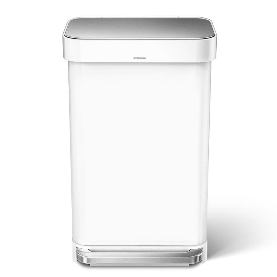 simplehuman 45 Liter Rectangular Step Can- White Stainless Steel