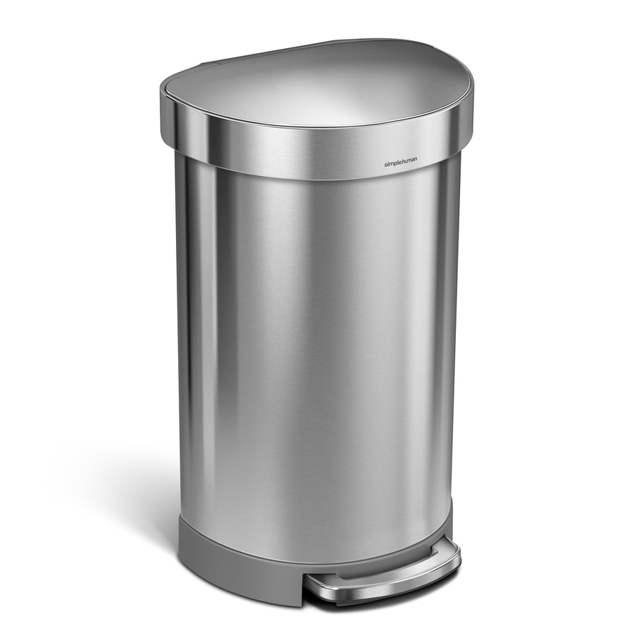 Simplehuman Semi Round 45 Liter Brushed Stainless Steel Trash Can With Lid