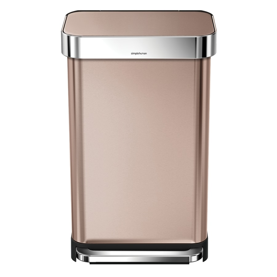 simplehuman Rectangular 45-Liter Rose Gold Stainless Steel Trash Can with Lid