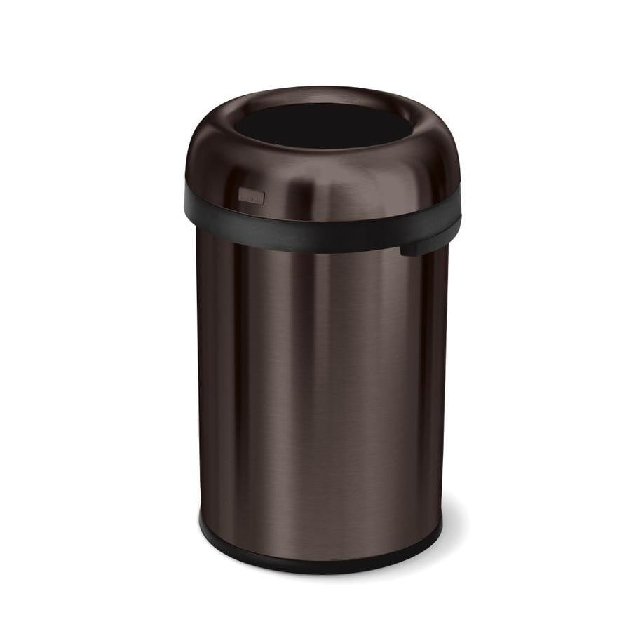 simplehuman Bullet Open-Top 115-Liter Dark Bronze Stainless Steel Touchless Trash Can with Lid