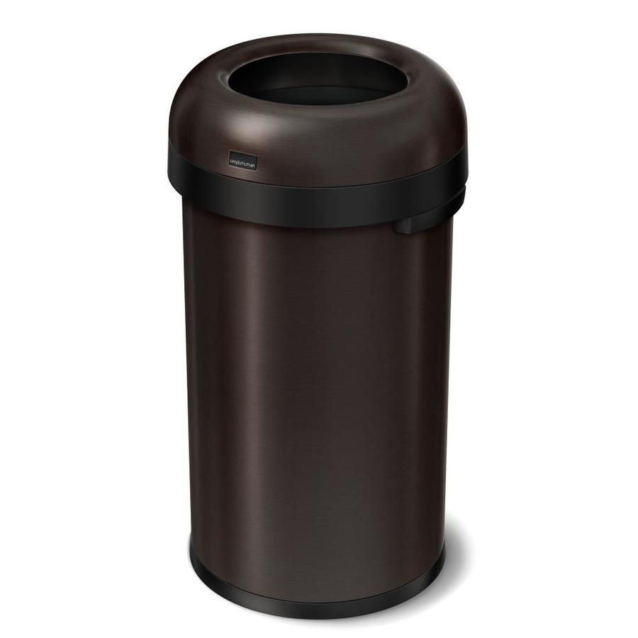 simplehuman Bullet Open-Top 60-Liter Dark Bronze Stainless Steel Touchless Trash Can with Lid