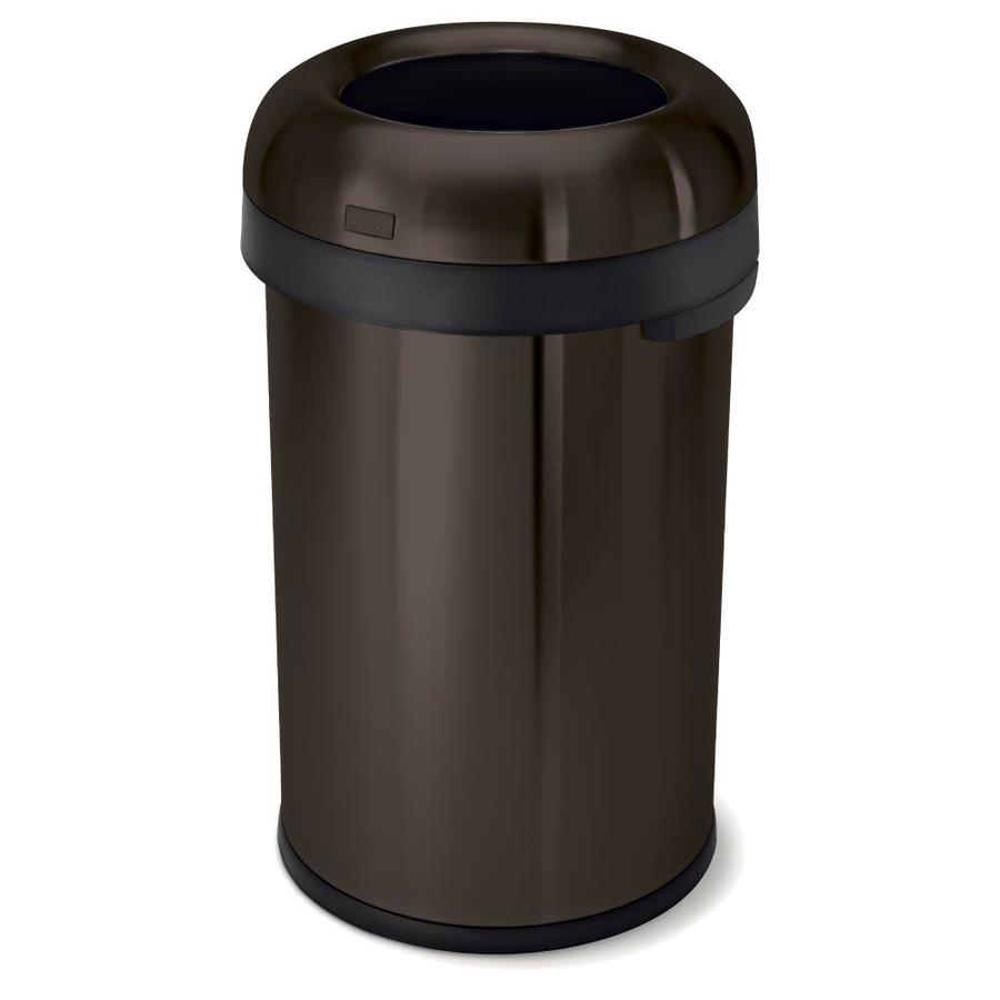 simplehuman Bullet Open-Top 80-Liter Dark Bronze Stainless Steel Touchless Trash Can with Lid