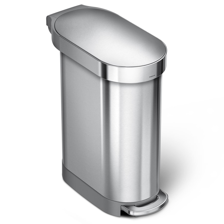 Shop simplehuman slim 45 liter brushed stainless steel trash can with lid at - Slim garbage cans for kitchen ...