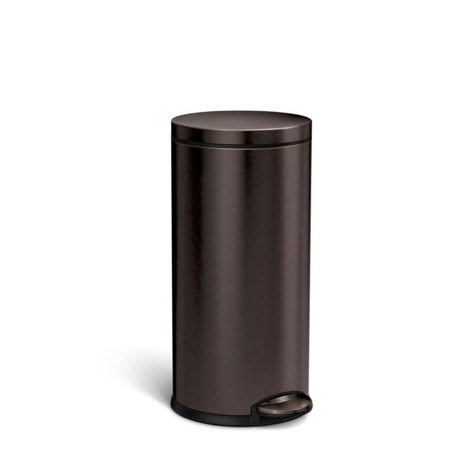 simplehuman Round 35-Liter Brushed stainless steel Steel Trash Can with Lid